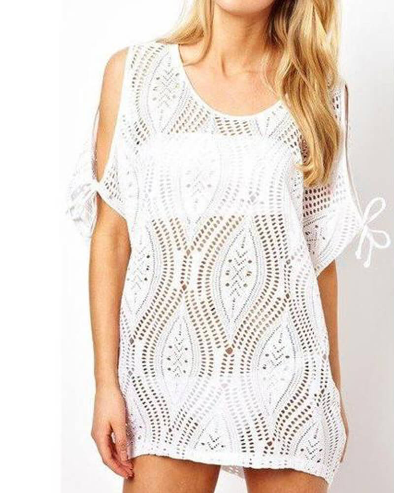 Mesh Hollow Cover-up Black And White Free Shipping