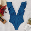 Solid Deep V-Neck Ruffled One-piece Swimsuit