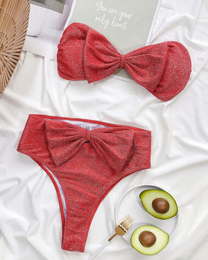Sweet Bowknot High Waisted Bikini Set