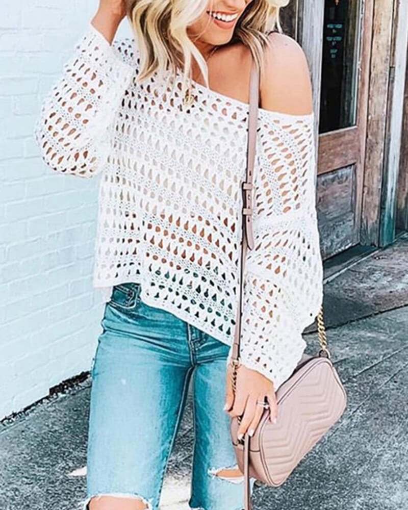 Mesh Knitted Crochet Sweater