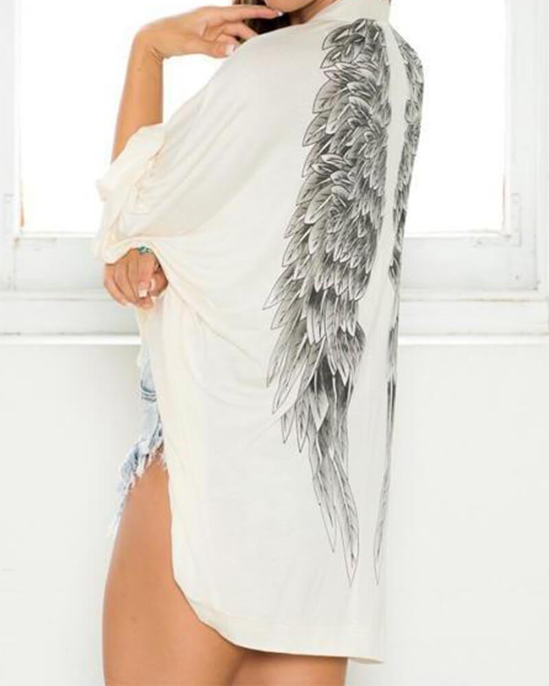 Casual Long Sleeve Angel Wing Prints Cardigan Top 25% OFF