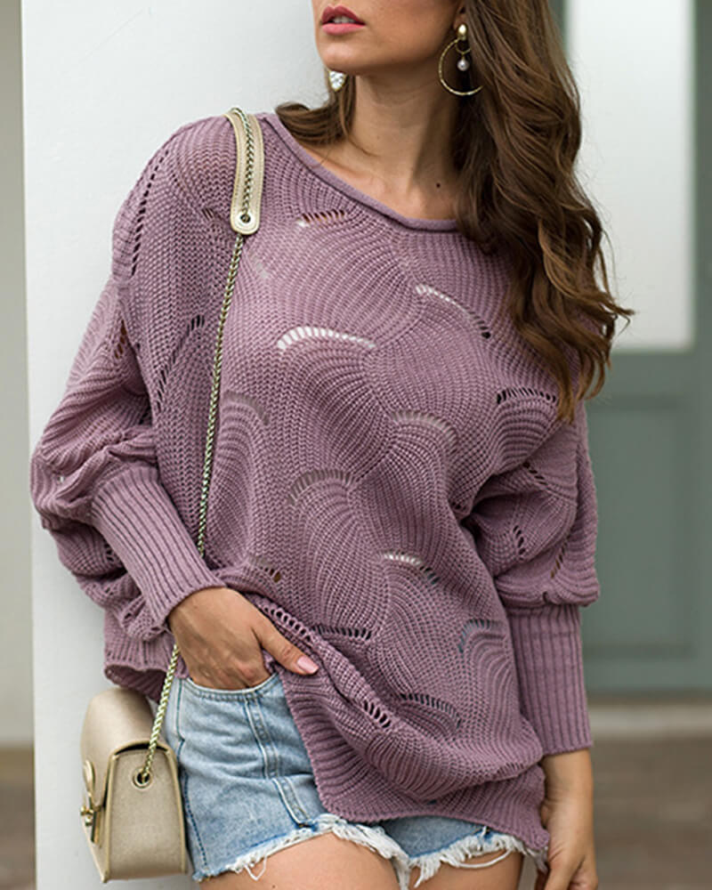 Hollow Out Flowers Loose sweater