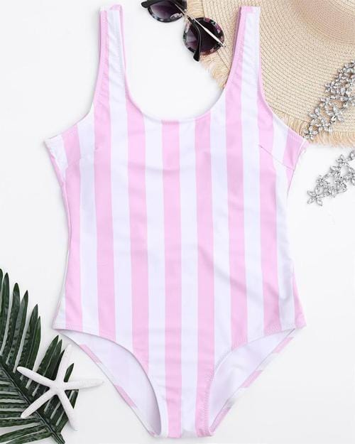 Strips Print Backless One-Piece Swimsuit