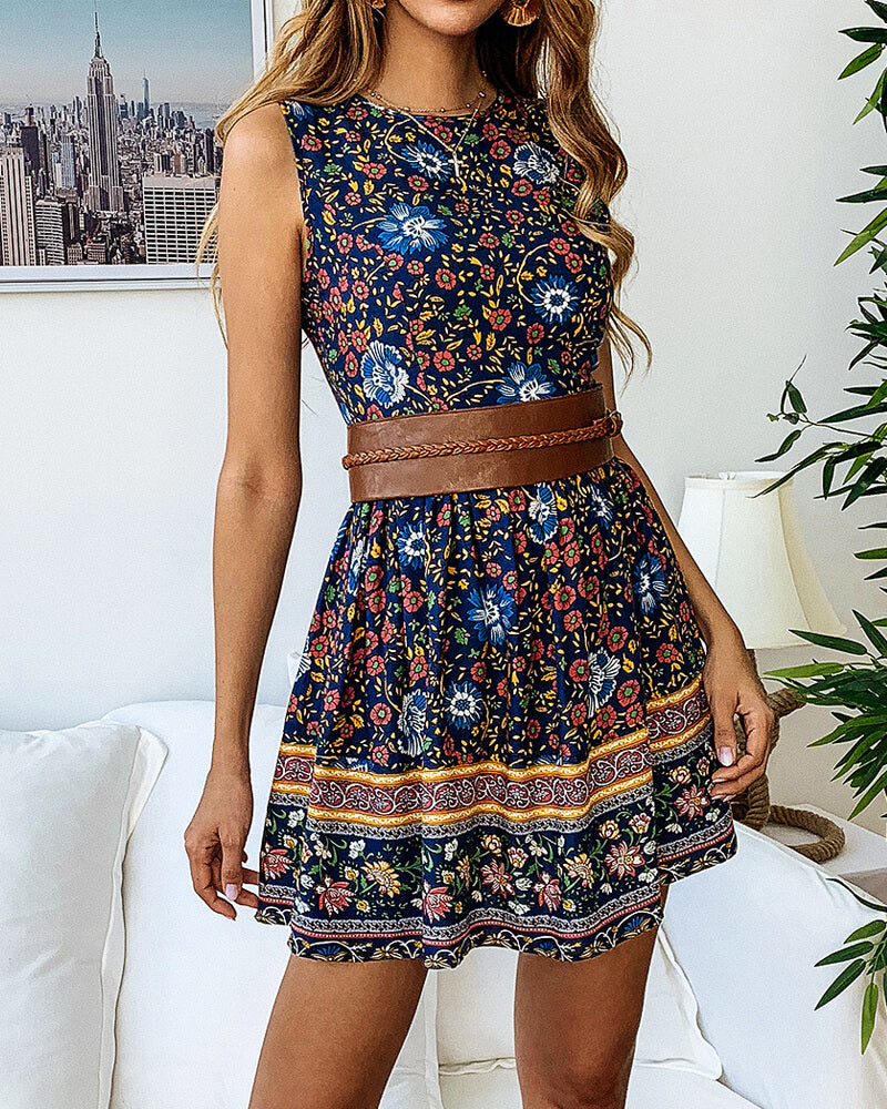 Printed Round Neck Floral Dress