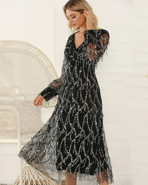 Sunygal Ablaze Lace Maxi Formal Dress