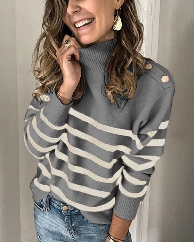 Winter Women's Long Sleeves Knit Sweater Turtleneck Striped Print Loose Pullover Tops Deco with Metal Button