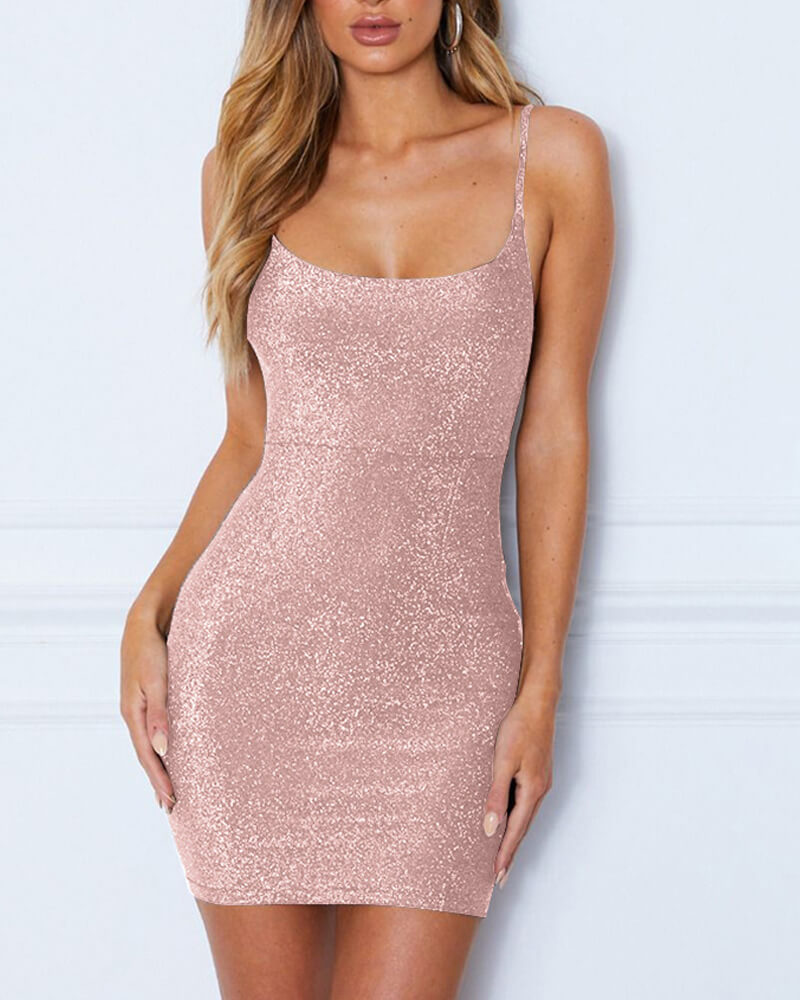 Slim Fit Bandage Back Shining Short Dress