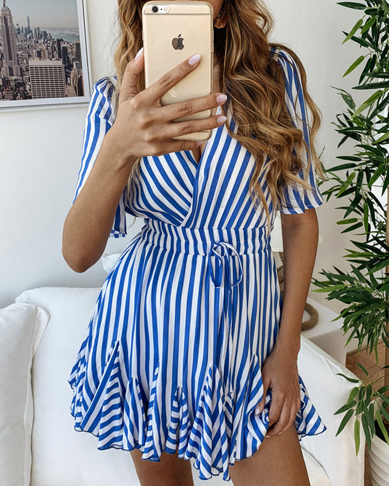 Striped Deep V-Neck Mini Dress