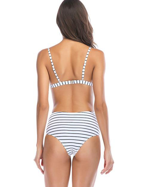 Classical Stripe High-Waisted Bikini Set