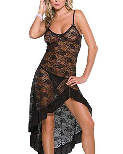 Sunygal  Sheer Long Lace Babydoll Chemise Sleepwear Sexy Lingerie