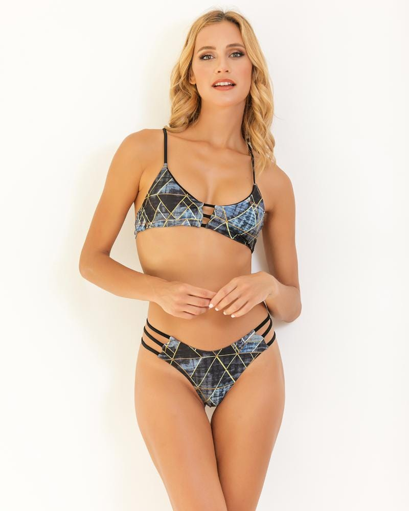 Geometry Print Lace Up Back Bikini Set