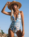 Floral Backless One-Piece Swimwear