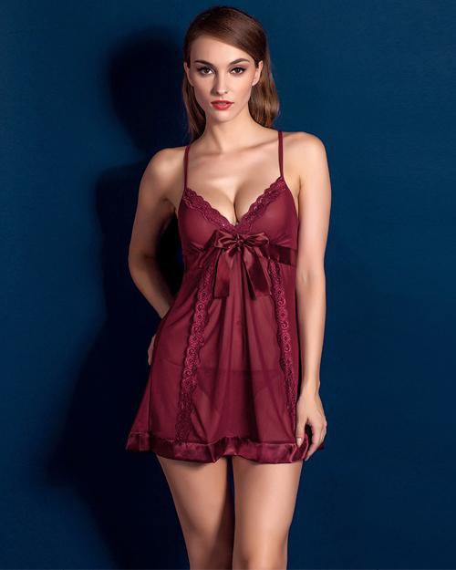 Sunygal See-Through Straps Sleep Dress