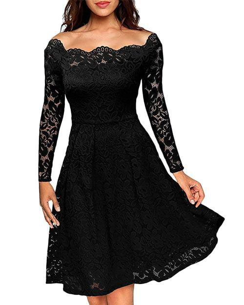 Hollow-out Off Shoulder Long Sleeve Lace Party Dress