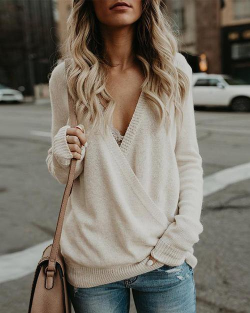 Sunygal Sexy Deep V Cross Neck Sweater