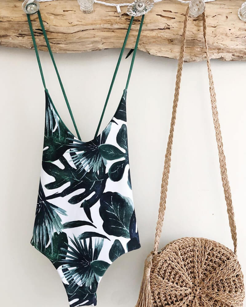 Leaf Print Lace Up One-Piece Swimsuit
