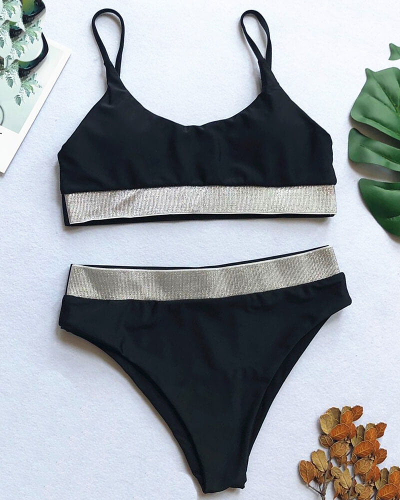 Patchwork High-Waisted Bikini Set