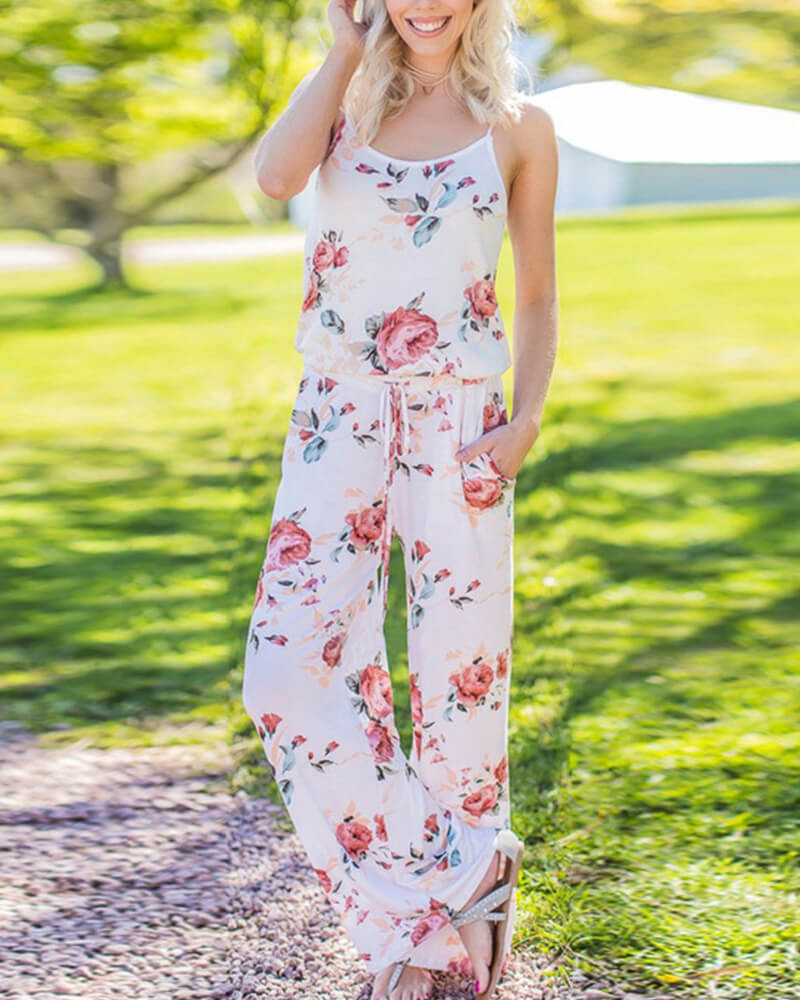 Floral Print Shoulder Jumpsuit