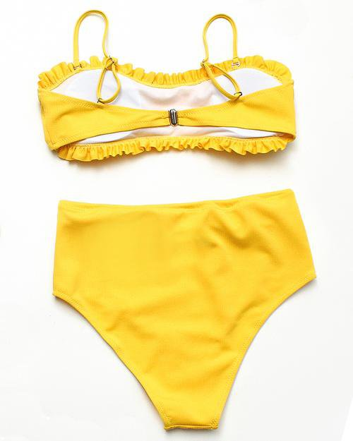 Solid Bikini Set With Ruffles