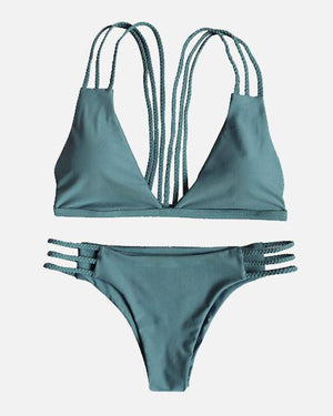 Soild Line Cross Back Bikini Set