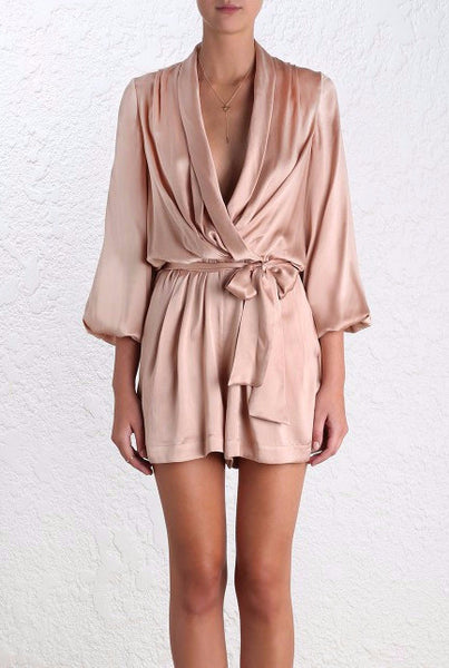 Sueded Silk Peony Playsuit