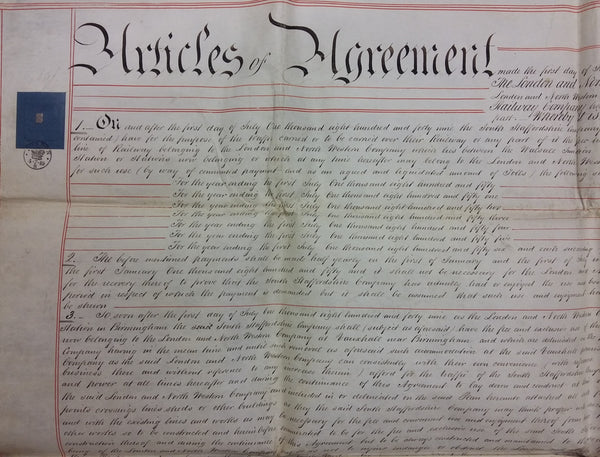 Articles of Agreement dated 1st July 1849
