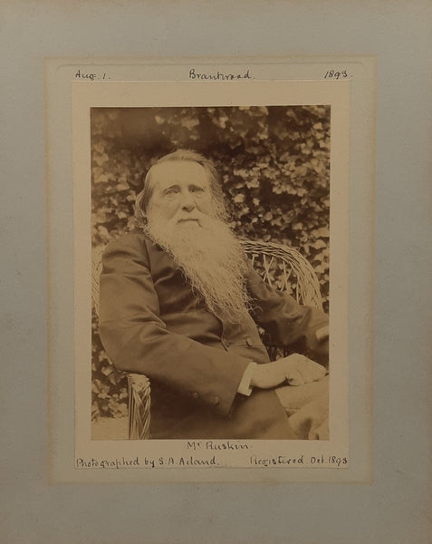 Albumen silver print of John Ruskin at Brantwood dated 1st August 1893