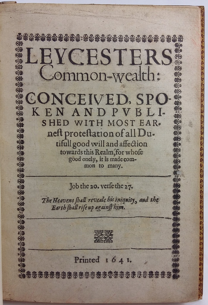 Leycesters Common-wealth [bound with Leycesters Ghost, 1641]