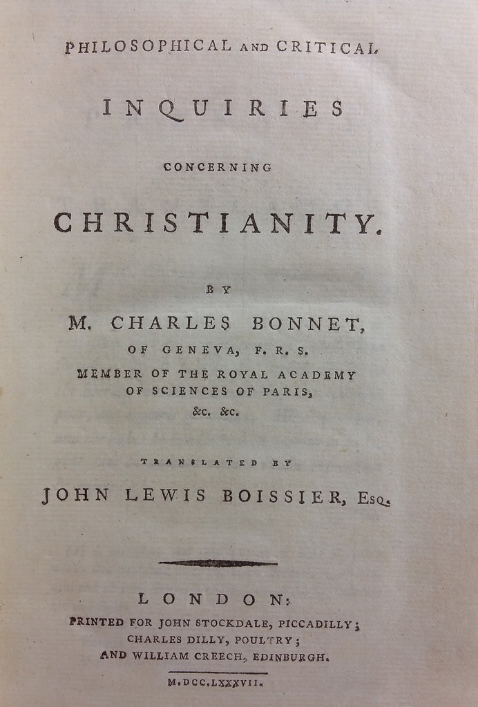 Philosophical and critical inquiries concerning Christianity. (Translated by John Lewis Boissier, Esq.)