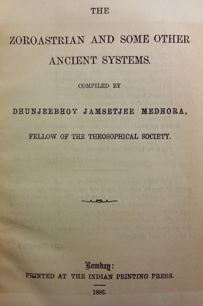The Zoroastrian and some other Ancient Systems