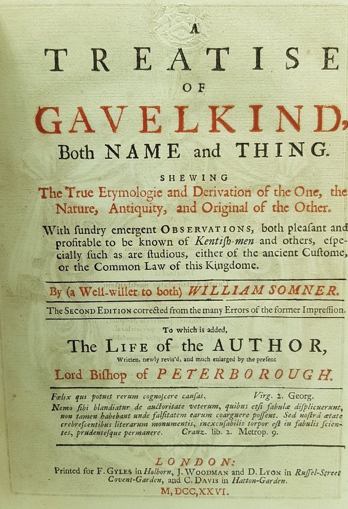 A Treatise of Gavelkind, both Name and Thing.