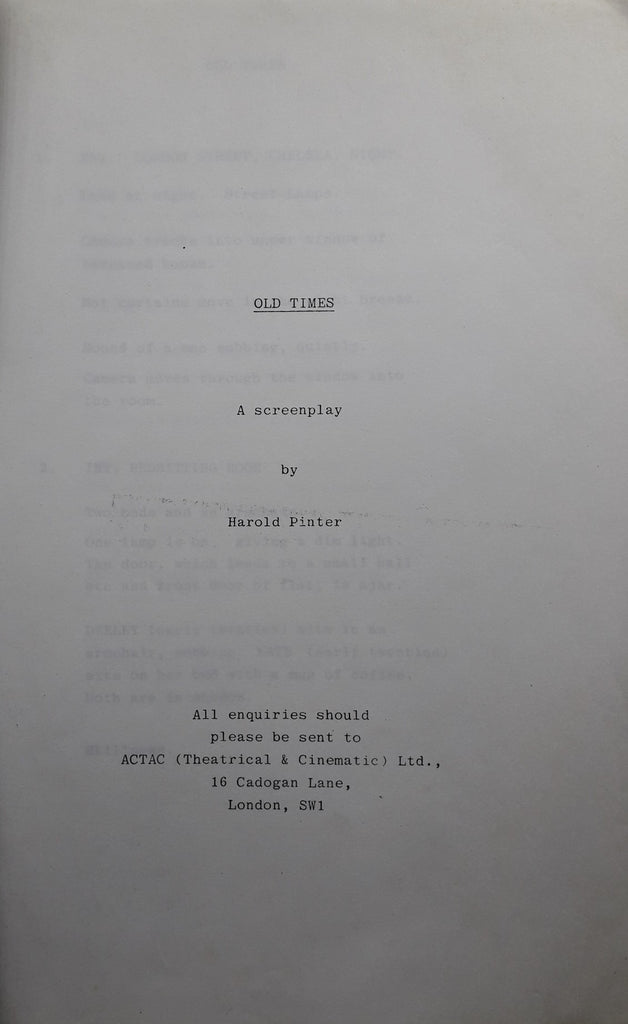 Old Times. A Screenplay.