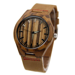 Zebra Wood 44mm Wooden Watch + Free Engraving-W-204-WH - Www.EverythingWood.Store