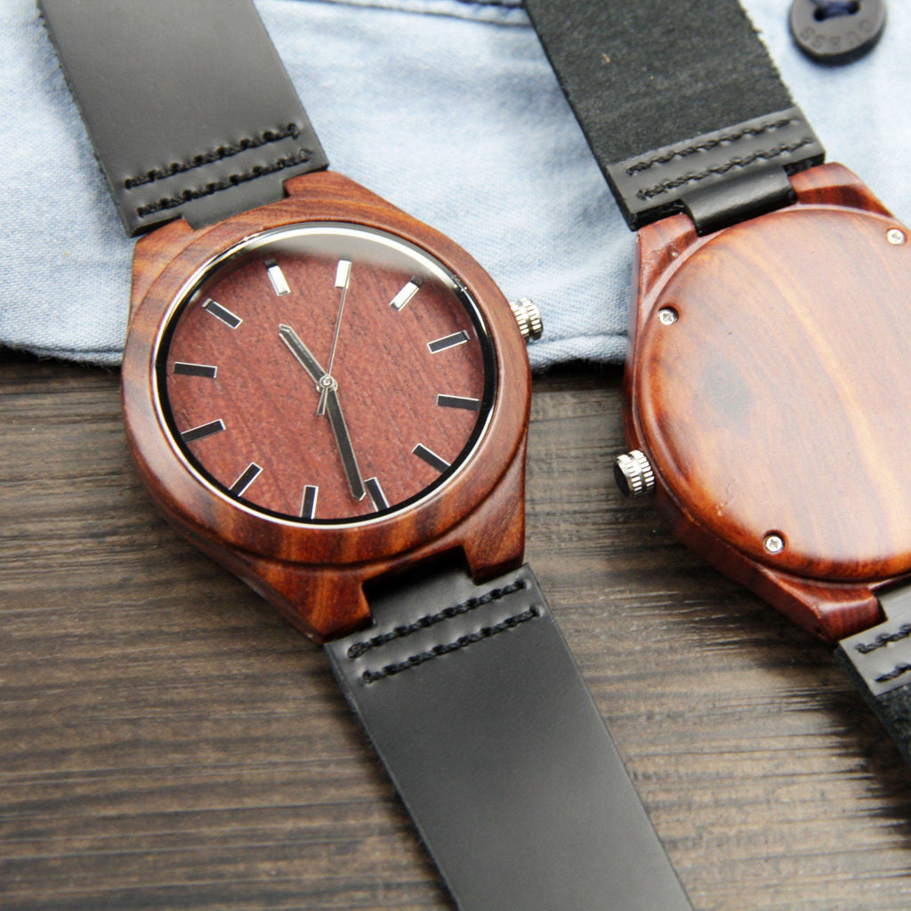 Red Sandalwood 44mm Wooden Watch + Free Engraving-W-214-R - Www.EverythingWood.Store