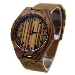 Zebra Wood 44mm Wooden Watch + Free Engraving-W-204-R-1 - Www.EverythingWood.Store
