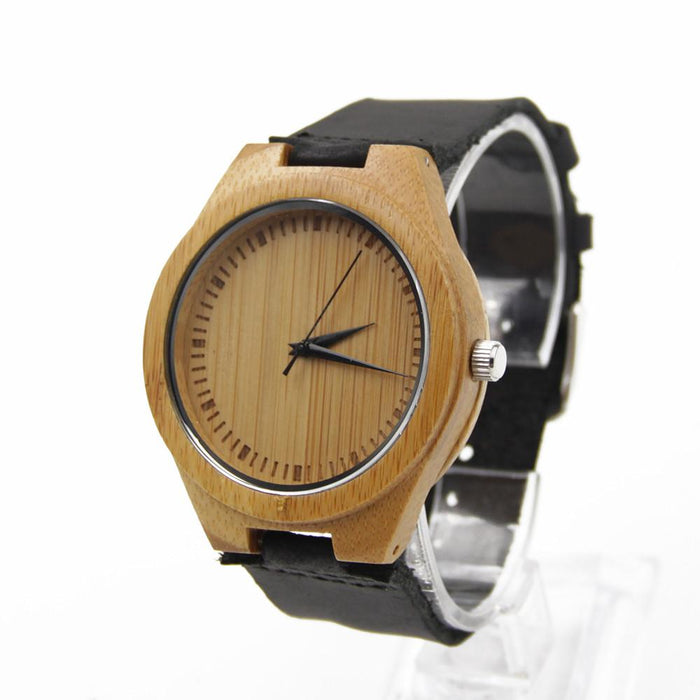 Bamboo 44mm Wooden Watch + Free Engraving-W-135C - Www.EverythingWood.Store