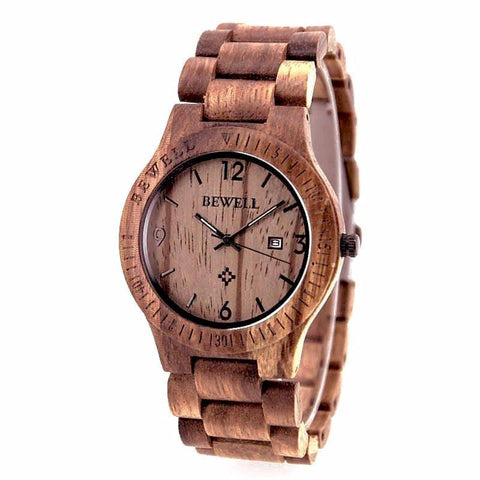Bewell ZS - W086B Wooden Watch  Quartz Movement Day Display