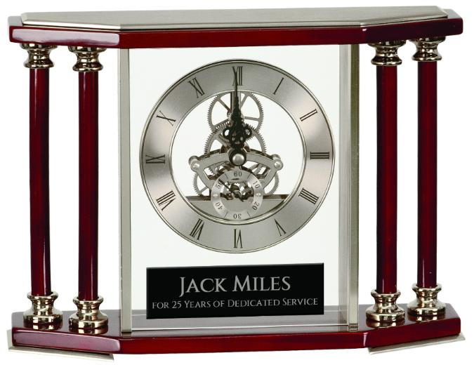 "Executive 4-Pillar Silver & Rosewood Piano Finish Clock  7 1/4"" - EWS Custom Gifts - Everything Wood Store"