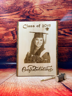 Photo Engraving on Wood Plaque