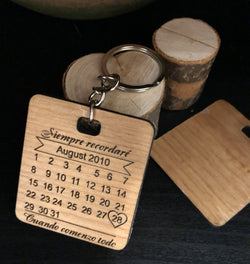 Personalized Calendar Anniversary Keychain - EWS Custom Gifts - Everything Wood Store