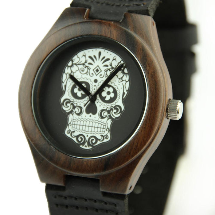 Black Sandal Wood 44mm Wooden Watch EWS-LBN036 - Www.EverythingWood.Store