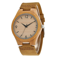 Bamboo Wood Watch 44 mm Leather Belt - Www.EverythingWood.Store