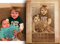 Photo Engraving on Alder Wood Plaque - EWS Custom Gifts - Everything Wood Store