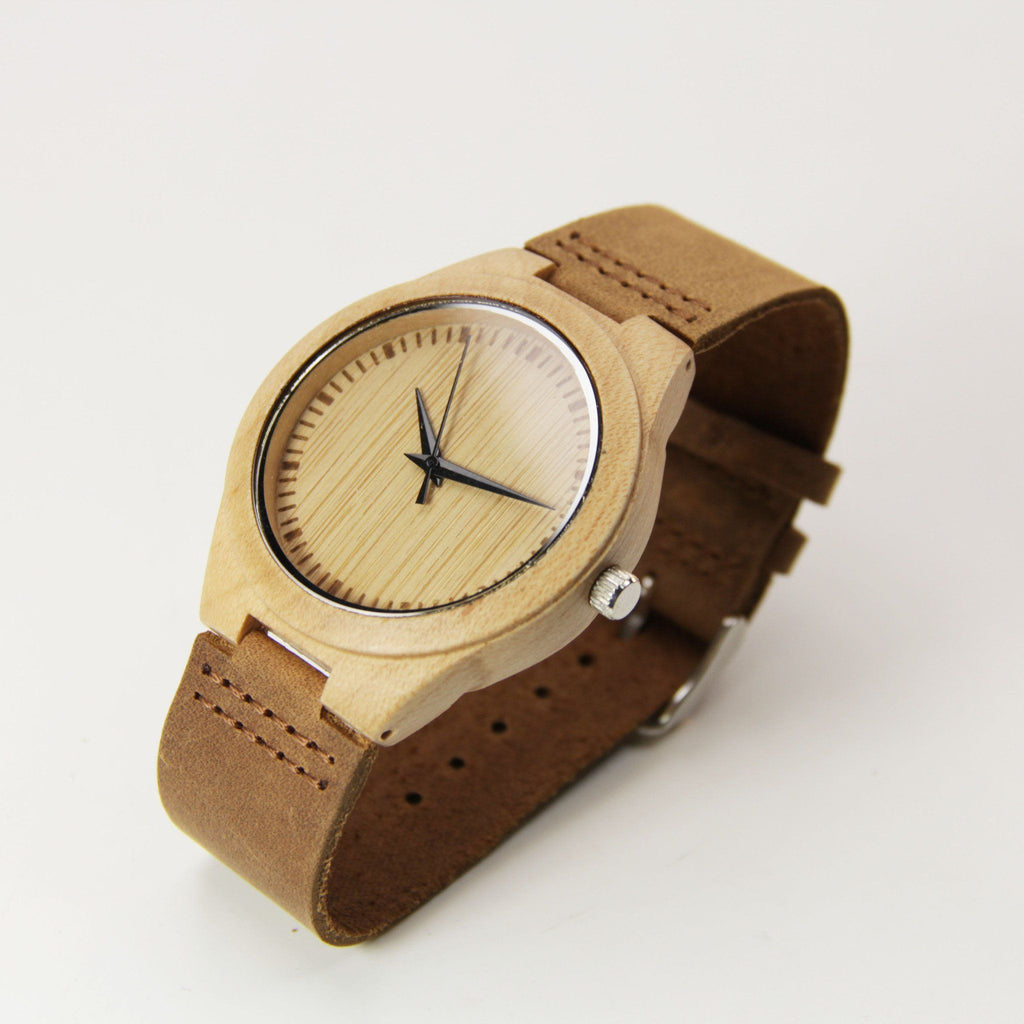 Photo Engraved Bamboo 44mm Wooden Watch - EWS Custom Gifts - Everything Wood Store
