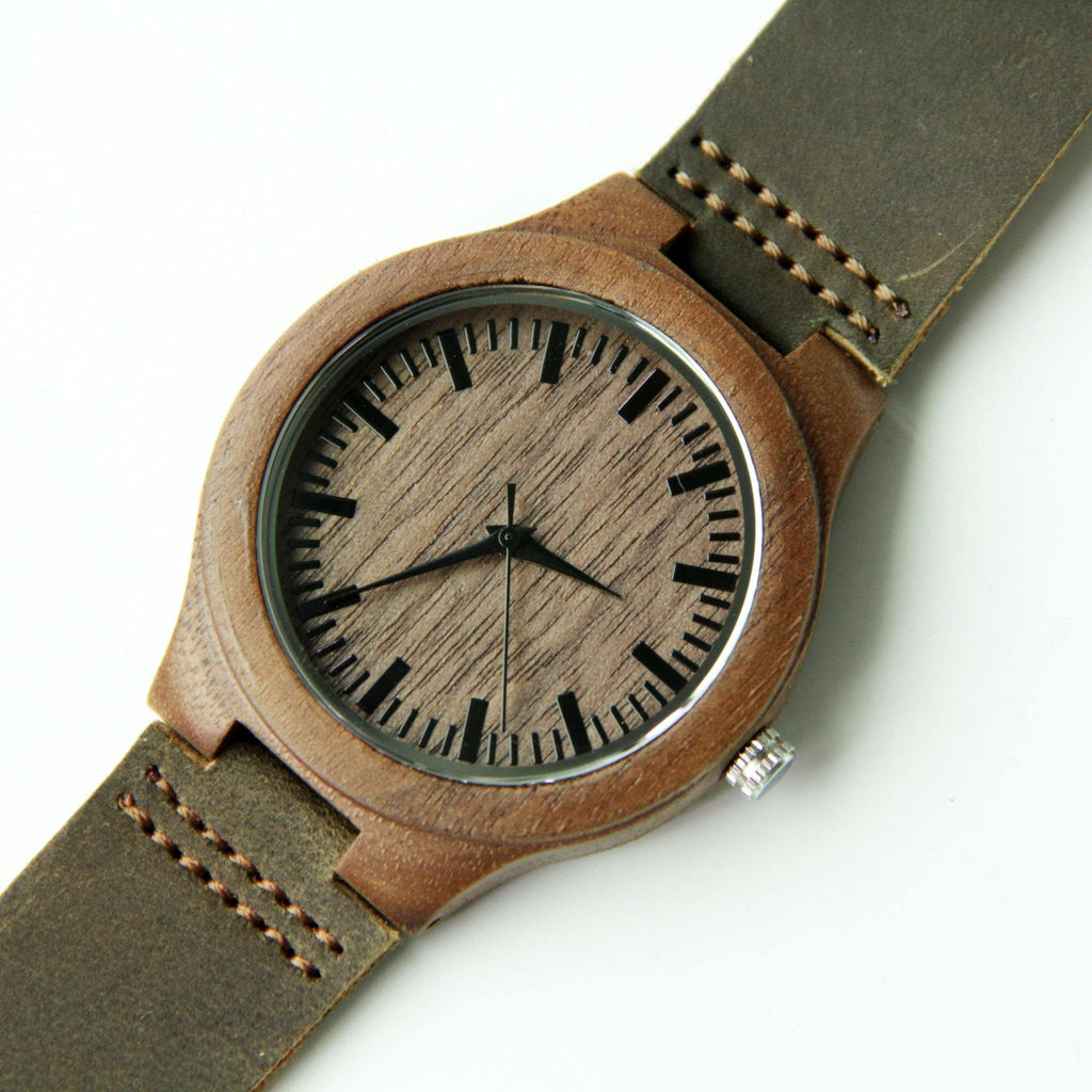 Walnut wood 44mm Wooden Watch + Free Engraving-W-218-walnut - Www.EverythingWood.Store