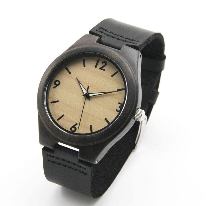 Black Sandalwood 44mm Wooden Watch + Free Engraving-W-154-2B - Www.EverythingWood.Store
