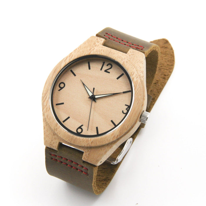Bamboo 44mm Wooden Watch + Free Engraving-W-154-C Natick - Www.EverythingWood.Store