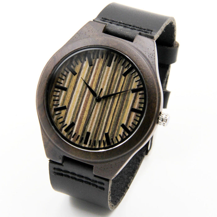 Black Sandalwood 44mm Wooden Watch + Free Engraving-W-229BK - Www.EverythingWood.Store