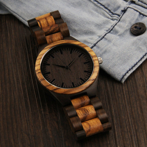 Full Wooden Luxury Watch Zebra Wood Mix