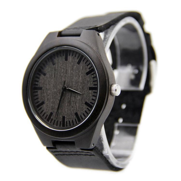 Black Sandalwood 44mm Wooden Watch + Free Engraving-WP-156BK - Www.EverythingWood.Store